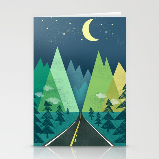 The Long Road at Night Stationery Card