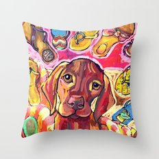 Dog with Shoes Throw Pillow