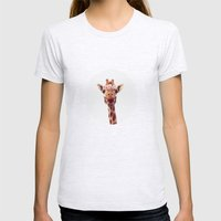 Flower crown giraffe Womens Fitted Tee Ash Grey SMALL