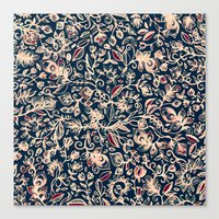 Navy Garden - floral doodle pattern in cream, dark red & blue Canvas Print
