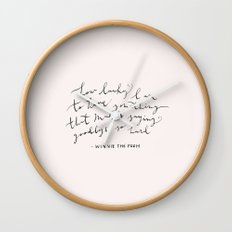 LUCKY - WINNIE THE POOH QUOTE Wall Clock