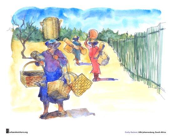"Cathy Gatland, ""Basket Sellers"" Art Print"