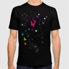 Butterfly Garden SMALL Black Mens Fitted Tee