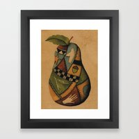 Crazy Quilt Pear Framed Art Print