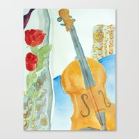 Violin and Roses Canvas Print