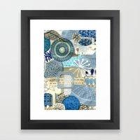 Blue Collage Framed Art Print