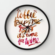Coffee & Wine – Brown & Magenta Ombré Wall Clock