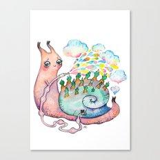 Rainbow snail watering the garden Canvas Print