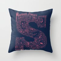 Monster Doodle Throw Pillow