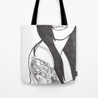 Girl With a Mermaid Tattoo Tote Bag