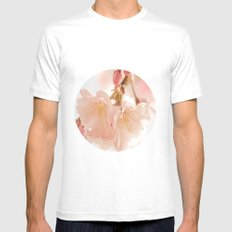 Cherry Bokeh Mens Fitted Tee SMALL White