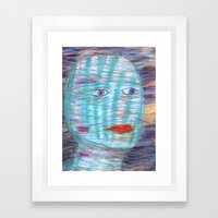 Plaid Head Framed Art Print