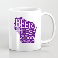 Purple and White Beer, Cheese and Good Company Wisconsin Graphic Mug