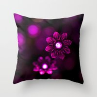 Electric Flowers (Purple) Throw Pillow