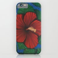 Tropical Hibiscus in Red island art painting iPhone 6 Slim Case