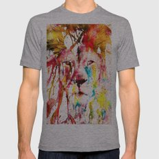 Wild Lion Sketch Abstrac… Mens Fitted Tee Athletic Grey SMALL