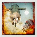 Sir's departure elephant towards the moon Canvas Print