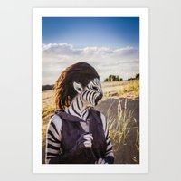 Zebra Girl Art Print