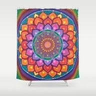 Lotus Rainbow Mandala Shower Curtain