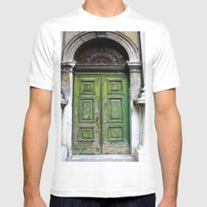 Green Door White Mens Fitted Tee SMALL