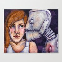Robot Kiss Canvas Print