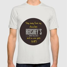 Stay away from my chocolate and no one gets hurt! Mens Fitted Tee Silver SMALL