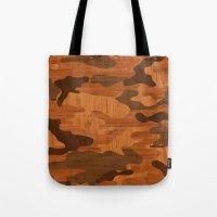 Modern Woodgrain Camouflage / Woodland Print Tote Bag