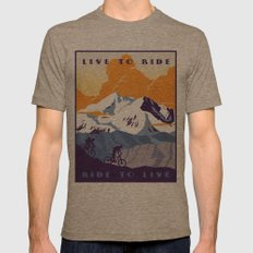 live to ride, ride to live retro cycling poster Mens Fitted Tee Tri-Coffee SMALL