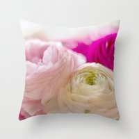 PASTEL COLORED RANUNCULUS Throw Pillow