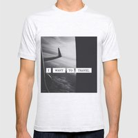 I want to travel   Mens Fitted Tee Ash Grey SMALL