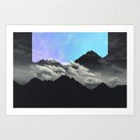 echo mountains Blue Art Print