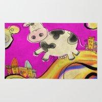 Cow - magenta Rug