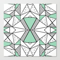 Ab Lines and Spots Mint Canvas Print