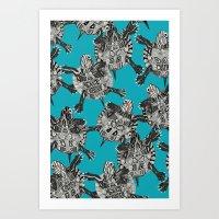 turtle party surf blue Art Print