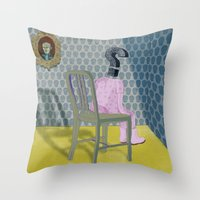 In the dog house. Question series Throw Pillow