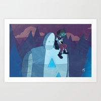 Robokid in the Forest Art Print