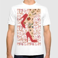 Red Walk Mens Fitted Tee White SMALL