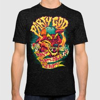 PARTY GOD (red) Mens Fitted Tee Tri-Black SMALL
