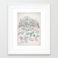 Framed Art Print featuring Old Town Bikes by David Fleck