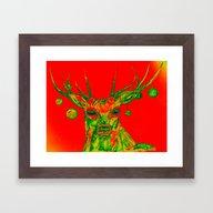XMAS DEER In RED Framed Art Print