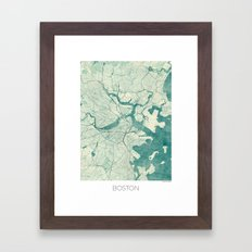 Boston Map Blue Vintage Framed Art Print