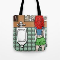 Girl in Skirt at Urinal by RonkyTonk Tote Bag