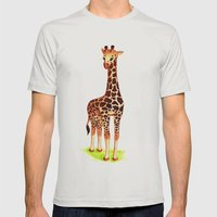 Giraffe Mens Fitted Tee Silver SMALL