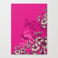 Vintage butterfly wallpaper- magenta Canvas Print