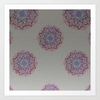 Grey Ombre Mandala Art Print