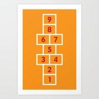 Hopscotch Orange Art Print
