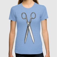 scissors Womens Fitted Tee Tri-Blue SMALL
