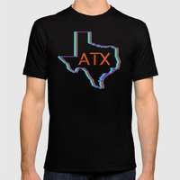 ATX Austin, Texas Retro Neon Lights Mens Fitted Tee Black SMALL