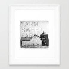 FARM SWEET FARM  Black and White Framed Art Print