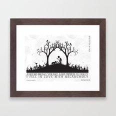 Edgar Allan Poe Black and White Illustrated Quote  Framed Art Print